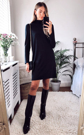 High Neck Long Sleeved Dress in Black by Pieces