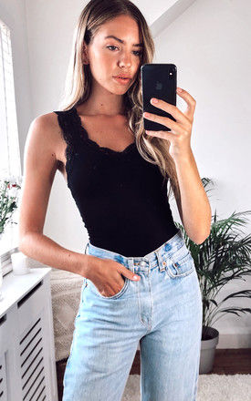 Lace V Neck Vest Top in Black by Pieces