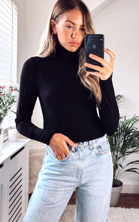 Roll Neck Ribbed Long Sleeved Top in black by VILA