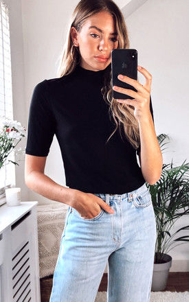 Short Sleeved High Neck Ribbed Top in Black by VILA