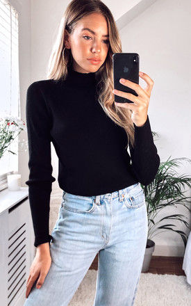 Ribbed Knitted Top with High Neck in Black by VILA
