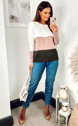 Colour Block Jumper in White, Pink and Green by JDY