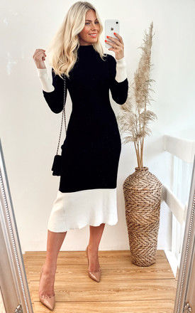 Soft knitted Ribbed midi bodycon dress in black cream contrast design by CY Boutique