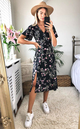 Wendy Black and Pink Cap sleeve dress by Style Cheat