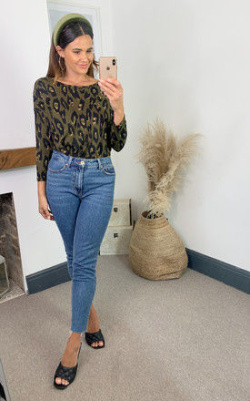 Three Quarter Sleeve Top in Green Leopard by ONLY