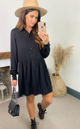 Shirt Dress with Dropped Waist in black by VILA