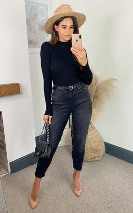 Ribbed High Neck Knitted Top in Black by JDY