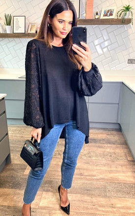 FLORA  - Hi-Low Lace Sleeve Top In Black by Blue Vanilla