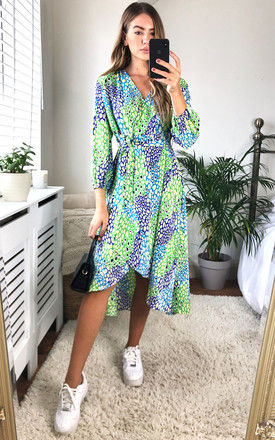 Plunge Neck Leopard Print Wrap Midi Dress in Green/Blue and Green by D.Anna