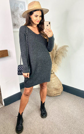 Ribbed Jumper Dress with v neck in Dark Grey by ONLY