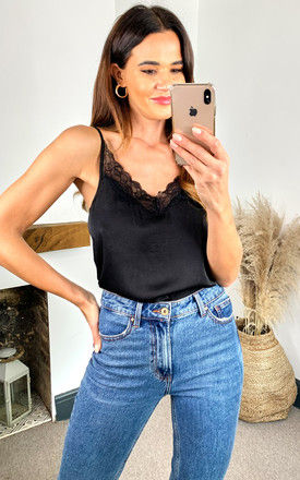 Cami Top with lace v neck in Black by JDY