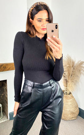 Ribbed Long Sleeve Top with High Neck in Black by Noisy May