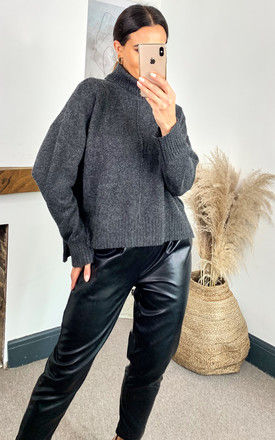 Roll Neck Knitted Top in Dark Grey by Noisy May