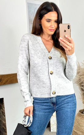 Ribbed Knitted Cardigan in Light Grey by ONLY