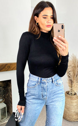 Turtle Neck Long Sleeve Top in Black by ONLY