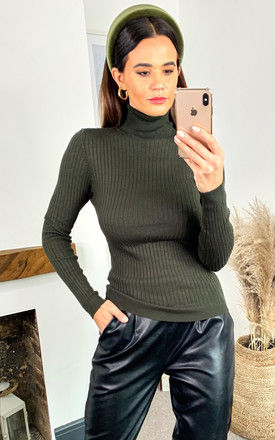 Ribbed Rollneck Knitted Pullover In Dark Green by ONLY