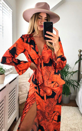 Palm Leaf Plunge Tie front Top with in Orange and Black by D.Anna