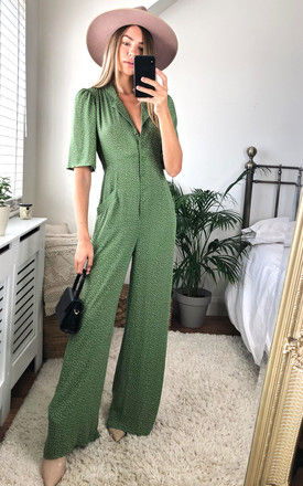Short Sleeve Button Jumpsuit in Green Polka by LIENA