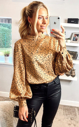 Brown Gold High neck Satin blouse by ANGELEYE