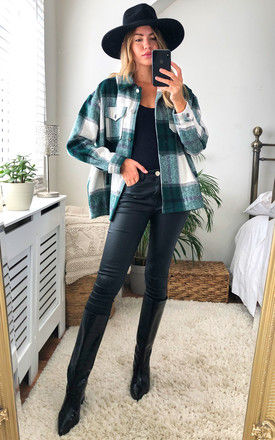 Green Check Oversized Pocket Detail Shacket by Gini London