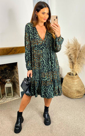 AMELIE Abstract Animal Tiered Long Sleeve Dress In Khaki by Blue Vanilla