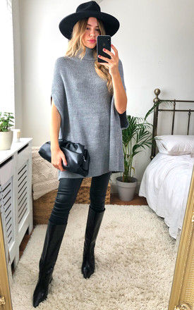 High Neck Oversize Knitted Poncho in Grey by Jenerique