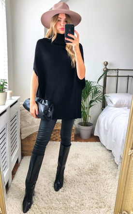 High Neck Oversize Knitted Poncho in Black by Jenerique