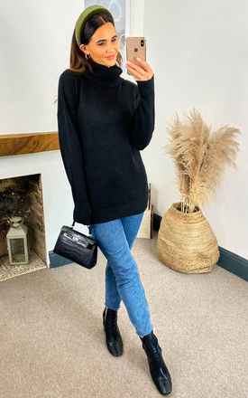 Ribbed Roll Neck Knitted jumper in Black by VILA