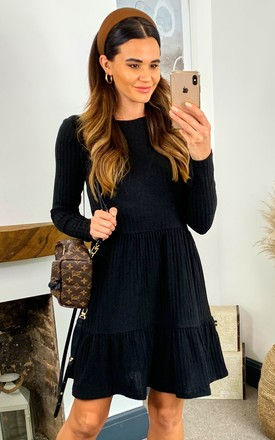 Ribbed Long Sleeve Dress with Tiered Detail in Black by VILA