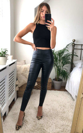 Black High Waisted PU Panel Trousers by AX Paris