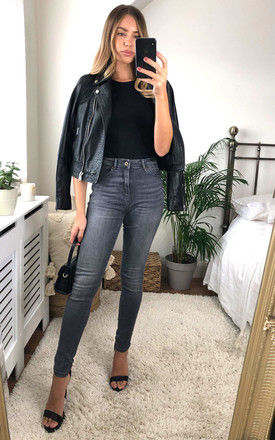 HIGH WAIST SKINNY JEANS in Grey by ONLY