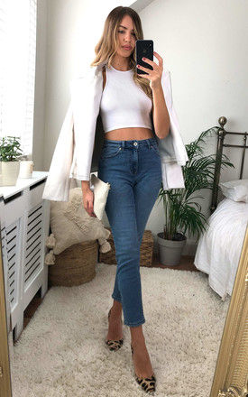 Mid Waist Straight Leg Denim Jeans in Light Blue by ONLY