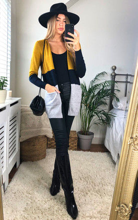 Open Front Cardigan in Grey and Mustard Colour Block by ONLY