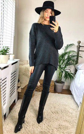 Knitted High Low Jumper in Dark Grey by ONLY