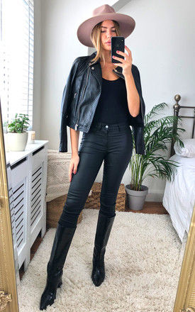 Mid Waist Coated Trousers in Black by Pieces