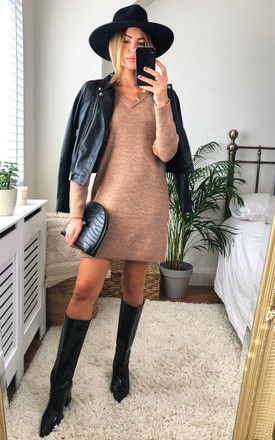Knitted V Neck Dress in Beige by Pieces