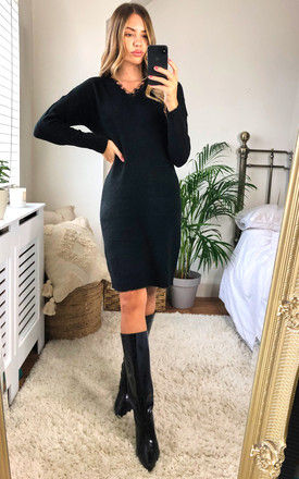 Knitted Dress with Lace V Neck in Black by VM