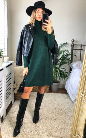 Knitted Tunic with Rollneck in Green by VILA
