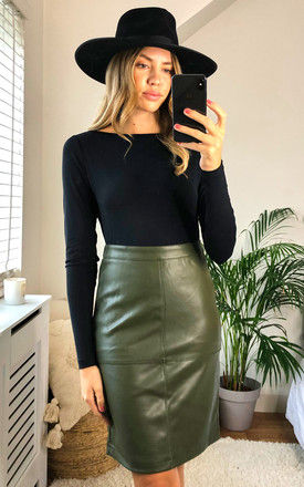 Coated Pencil Skirt in Green by VILA
