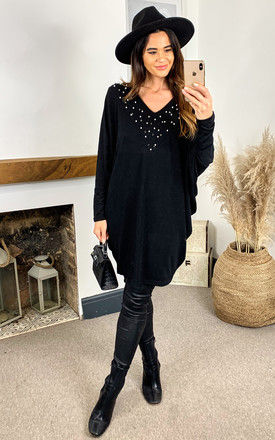 Embellished Batwing Top in Black by Bella and Blue