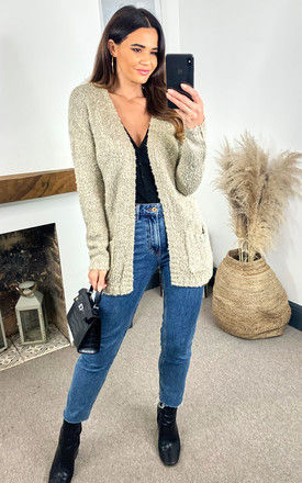 Knit Cardigan With Pockets in Beige by JDY