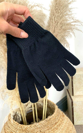 Knitted Gloves in Black by Pieces