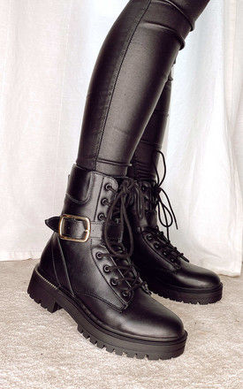 Lace up boots with buckle strap in Black by Truffle Collection