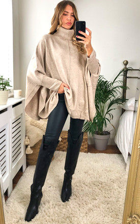 Cashmere Cowl Neck Poncho in Cream by KURT MULLER