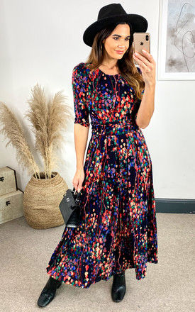 Abstract Floral Print Maxi Dress, Navy Multi by JOLIE MOI
