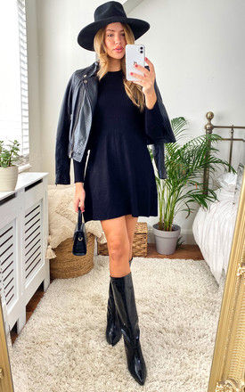Knitted Mini Dress with Ribbed Top in Black by ONLY