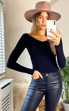Off Shoulder Top with Long Sleeves in Black by Pieces