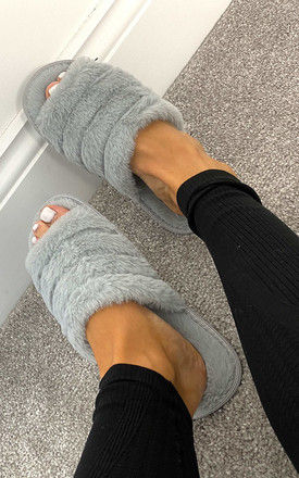 Faux Fur Slider Slippers In Grey by Truffle Collection
