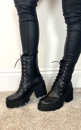 Lace Up Boots with Chunky Block Heel in Black by Truffle Collection