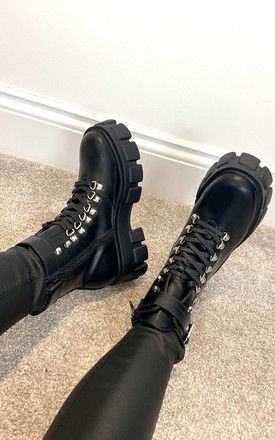 Chunky Lace Up Boots with Ankle Strap in Black by Truffle Collection